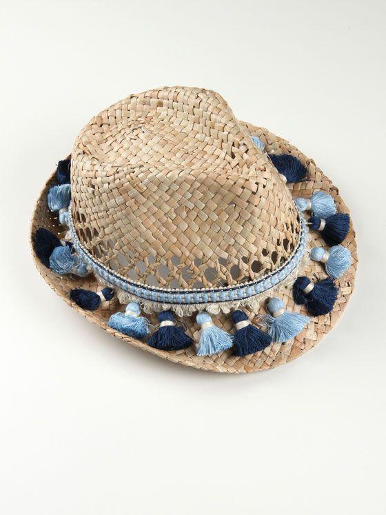 Sombrero playa de paja decorado con pasamanería en tonos azules. Disponemos  también capazo y clutch 67e877fd18d