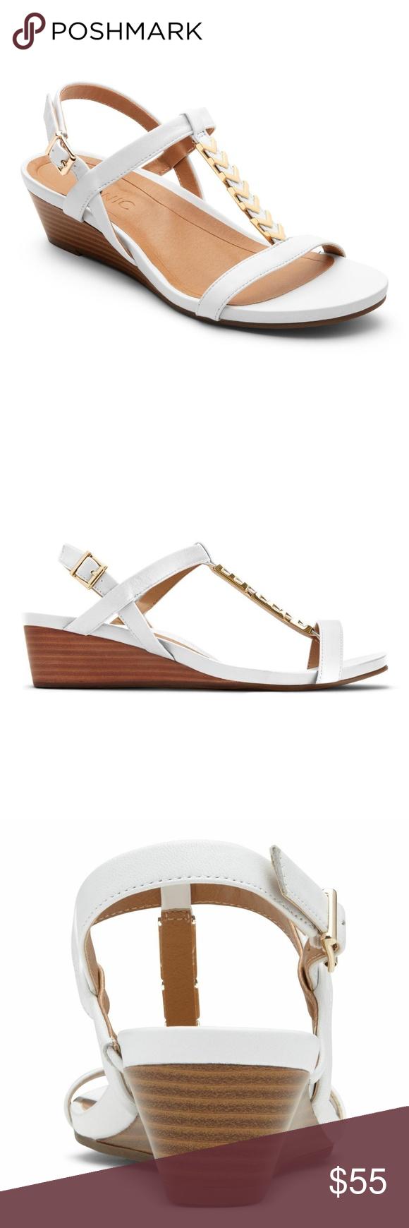 77306e2a847f Vionic Cali White T Strap Wedge Heel Sandal NEW Vionic - Womens Size  10 M