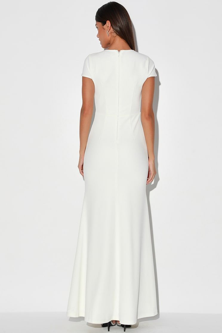 Always With Elegance White Cap Sleeve Mermaid Maxi Dress In 2020 Maxi Dress Cap Dress Capped Sleeve Dress