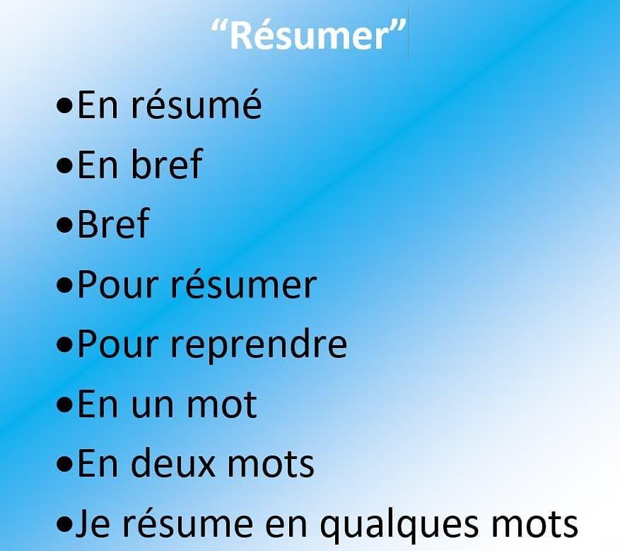 résumer french mots pour resumer pinterest language