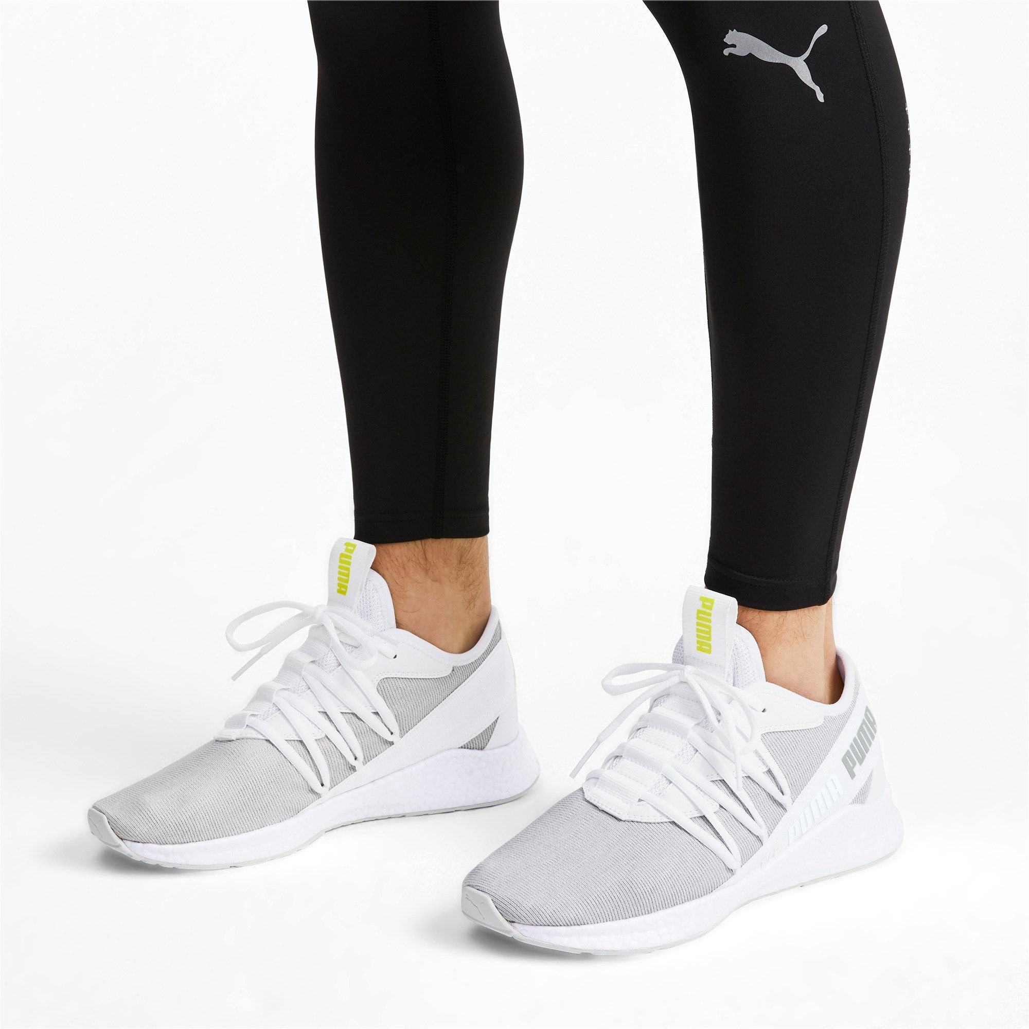 PUMA NRGY Star Knit Trainers in White/Glacier Grey/Yellow ...