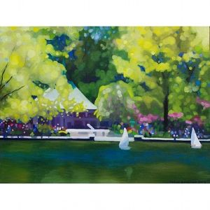 oil on canvas painting of conservatory water pond for RC boats in central park, New York.  Painted by artist Katrie Bonanno.