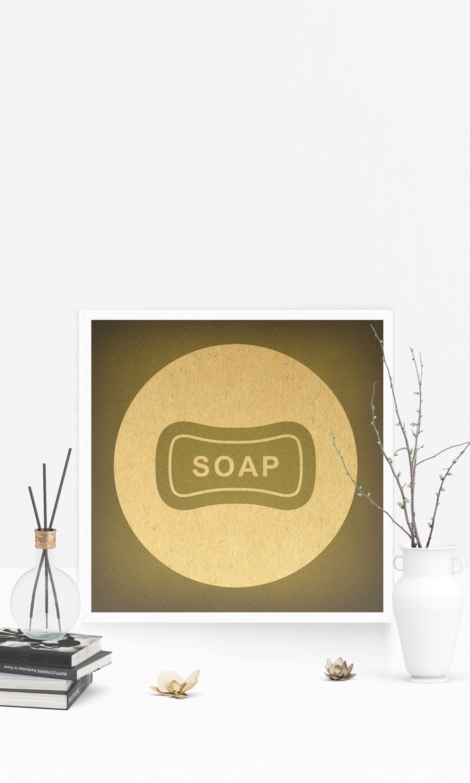 Vintage Bathroom Art Bar of Soap Wall Art Print Illustrated Old ...