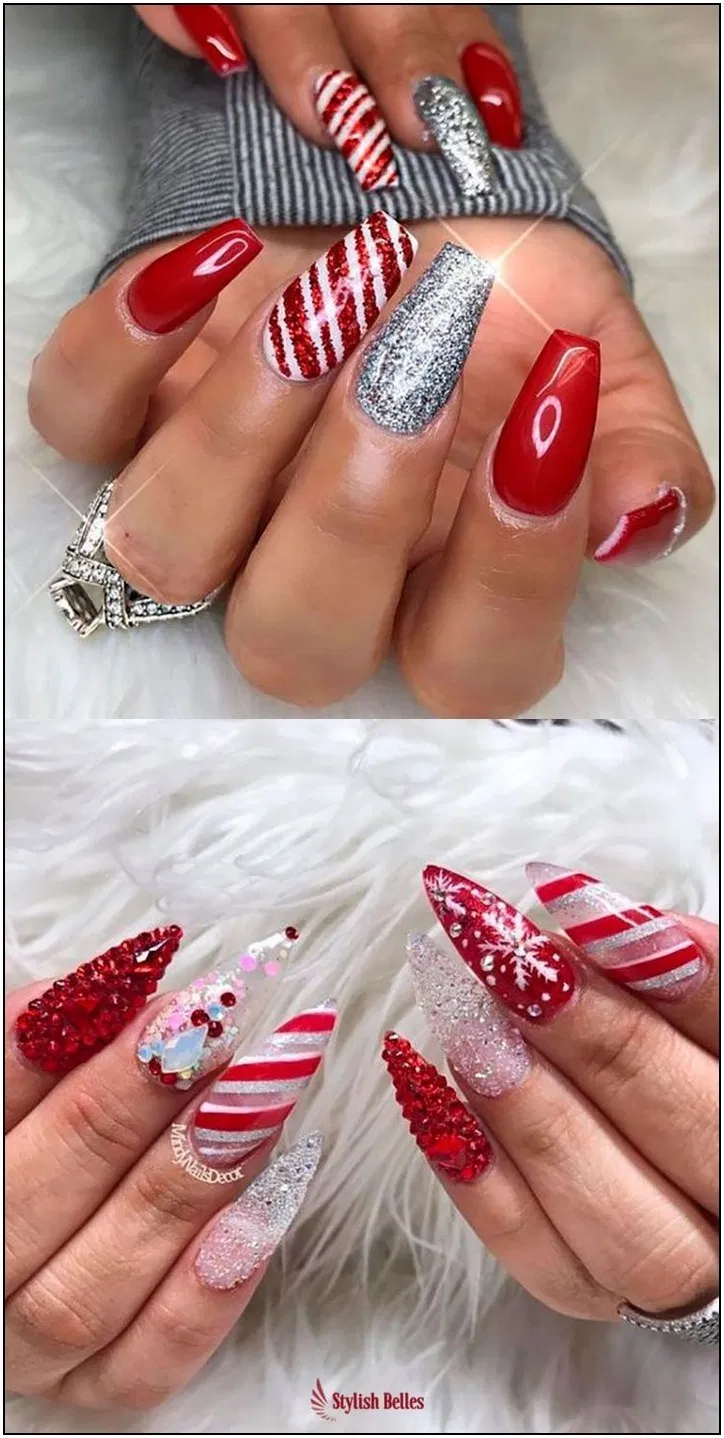 143 glamorous glitter nail arts for christmas page 20 | Armaweb07.com #christmasnails