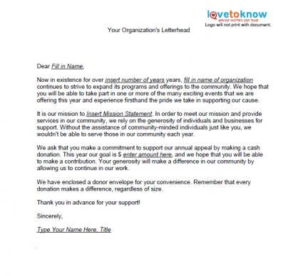 Samples Of Non Profit Fundraising Letters Lovetoknow Fundraising Letter Donation Letter Sample Fundraising Letters