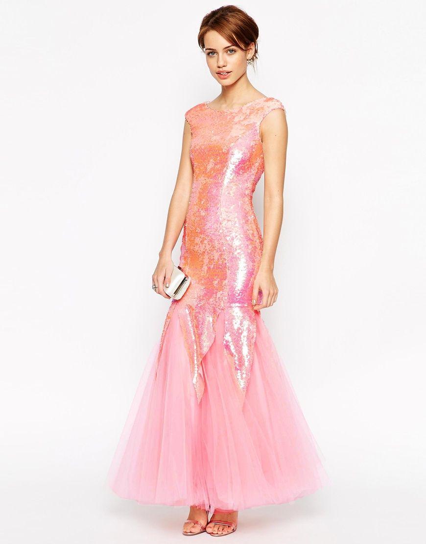 Imagen 4 de Jarlo Petite Lola Sequin Maxi Dress With Fish Tail ...