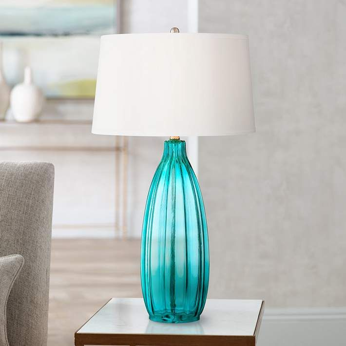 Stella 30 High Blue Fluted Glass Table Lamp 5h399 Lamps Plus Glass Table Lamp Modern Table Lamp Blue Glass Lamp