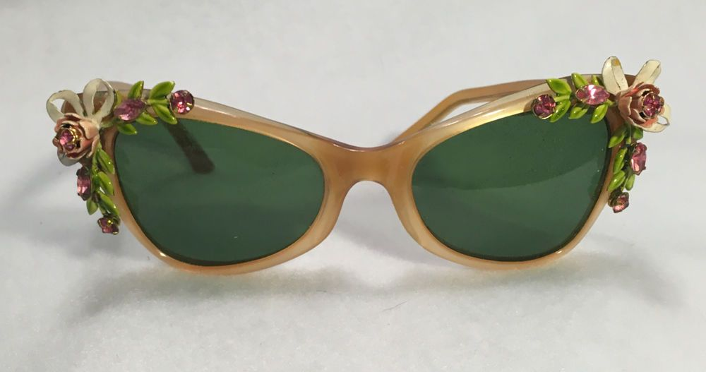 Vintage 1950s 60s Pink Rhinestone Enamel Rose Lucite CatEye Sunglasses France