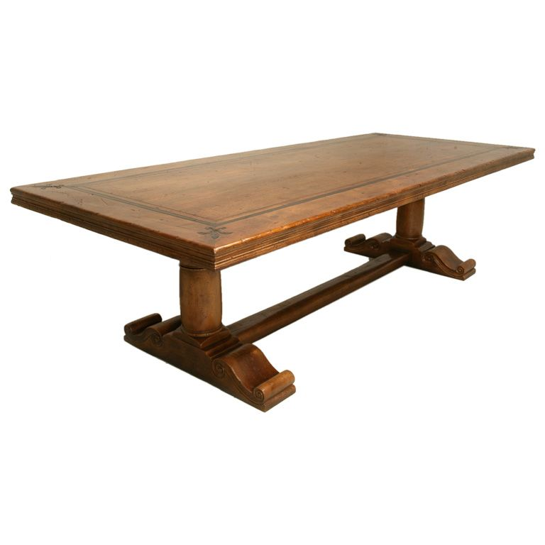 French Solid Walnut Trestle Table | Trestle tables, Dining room ...