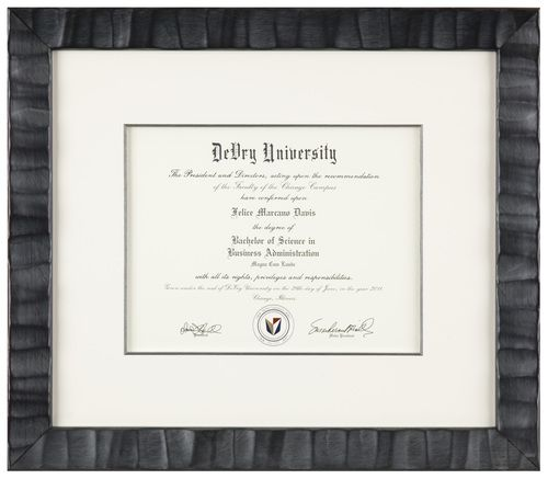 Artists Frame Service Diploma In Single Mat With A Black Bevel And Modern Curvy Imported Frame Diploma Frame Diploma Frame Office Certificate Frames