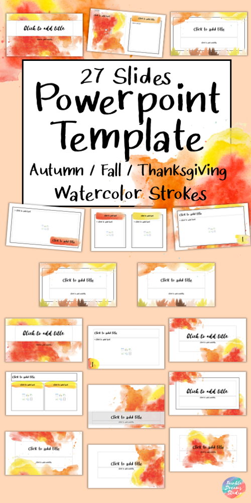 Editable Class Powerpoint Template Autumn Thanksgiving Watercolor Background Powerpoint Background Design Powerpoint Editable Powerpoint