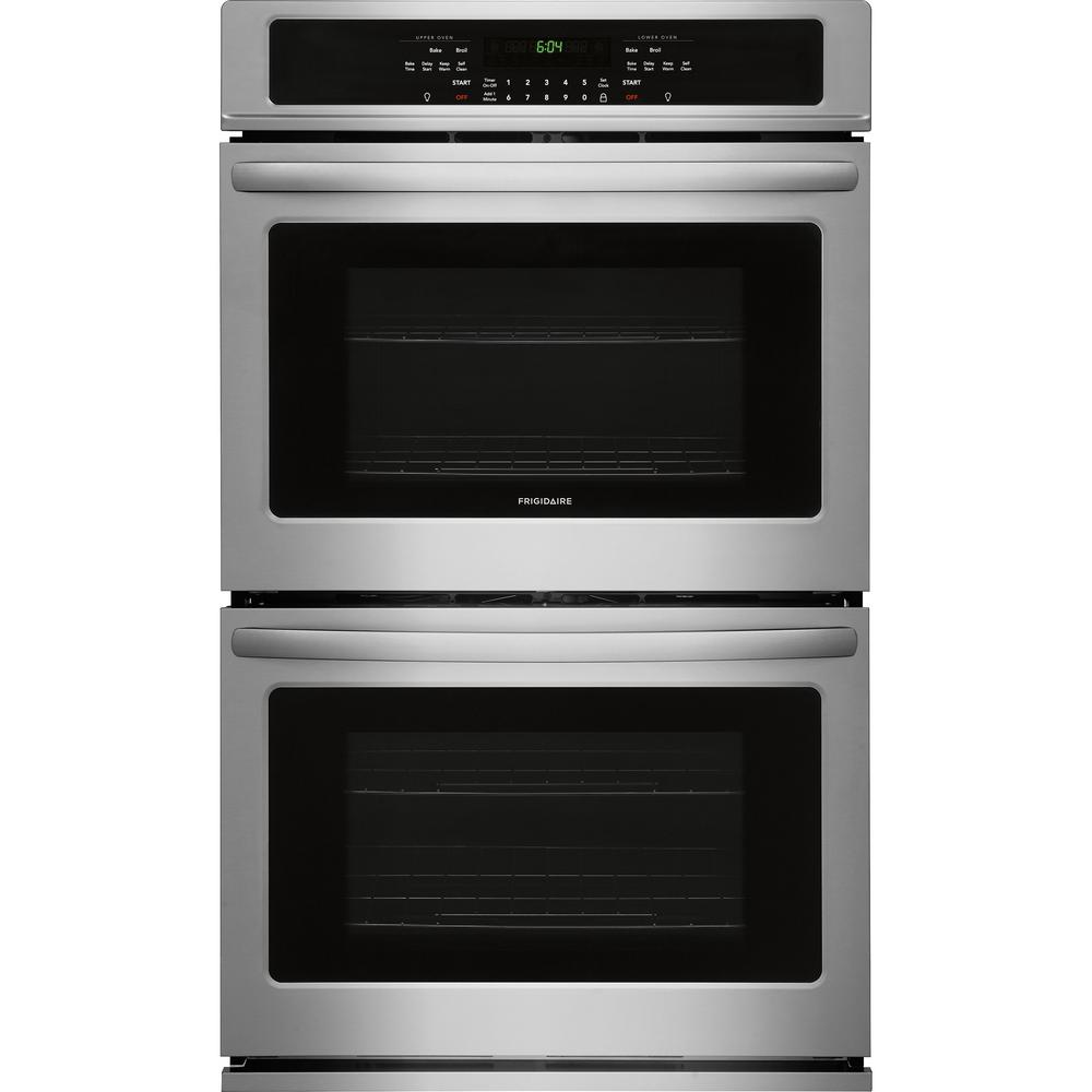 Frigidaire 30 In Double Electric Wall Oven Self Cleaning In Black Stainless Steel Ffet3026td The Home Depot In 2020 Wall Oven Double Electric Wall Oven Electric Wall Oven