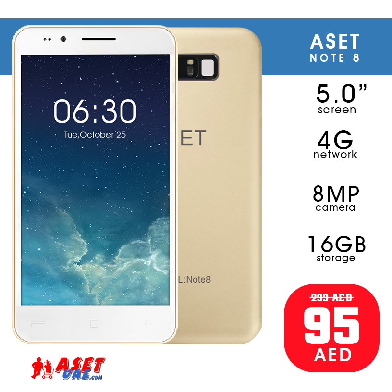 ASET Note 8 - 4G 16GB 8MP 5 0 inch , Gold | Daily Deals