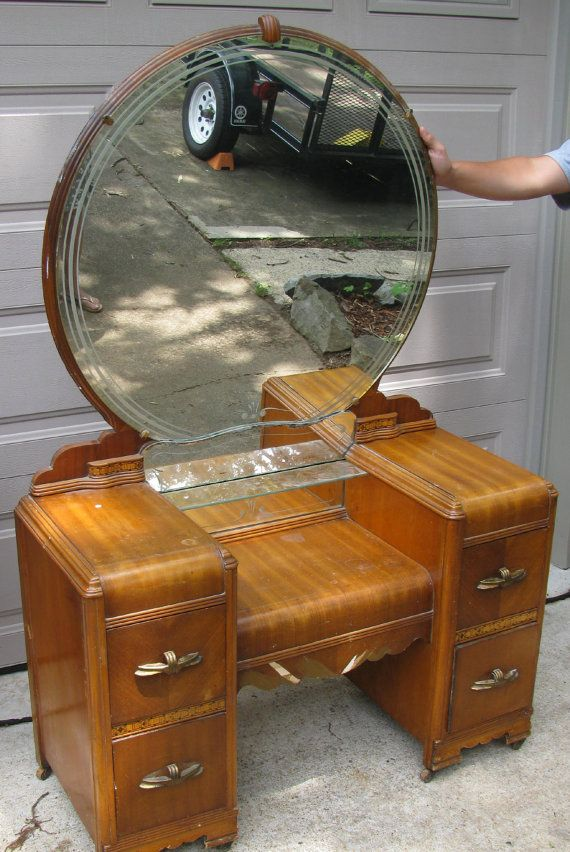 Vintage Dressing Table With Round Glass Mirror By
