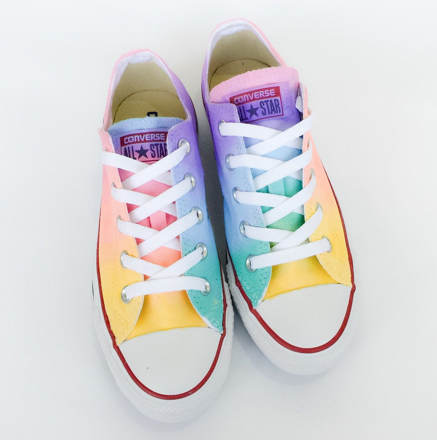 290b03644e07 The softer side of the rainbow is here in the pastel tie dyed low top  Converse! A unique hand painted pastel rainbow tie dye ombré color blend