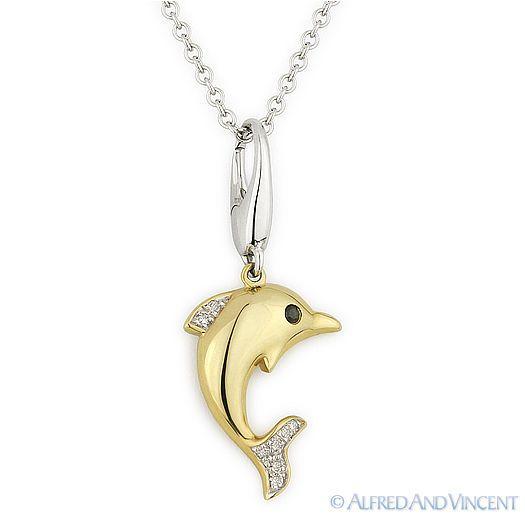 14K Yellow Gold Swimming Dolphin Charm Animal Pendant with High Polish