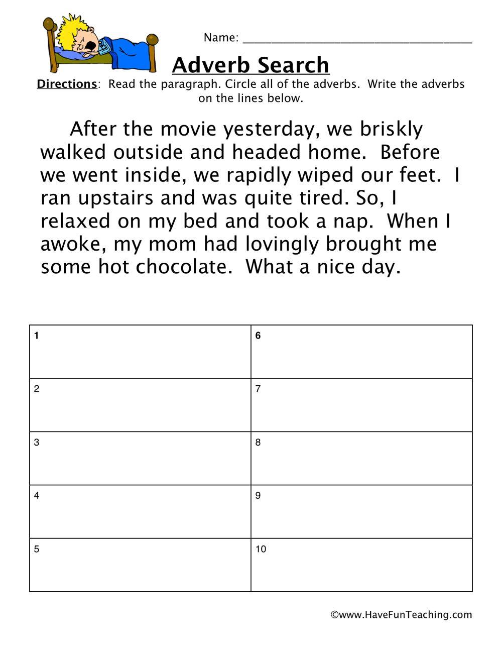 adverb worksheet movie engliah adverbs worksheet. Black Bedroom Furniture Sets. Home Design Ideas