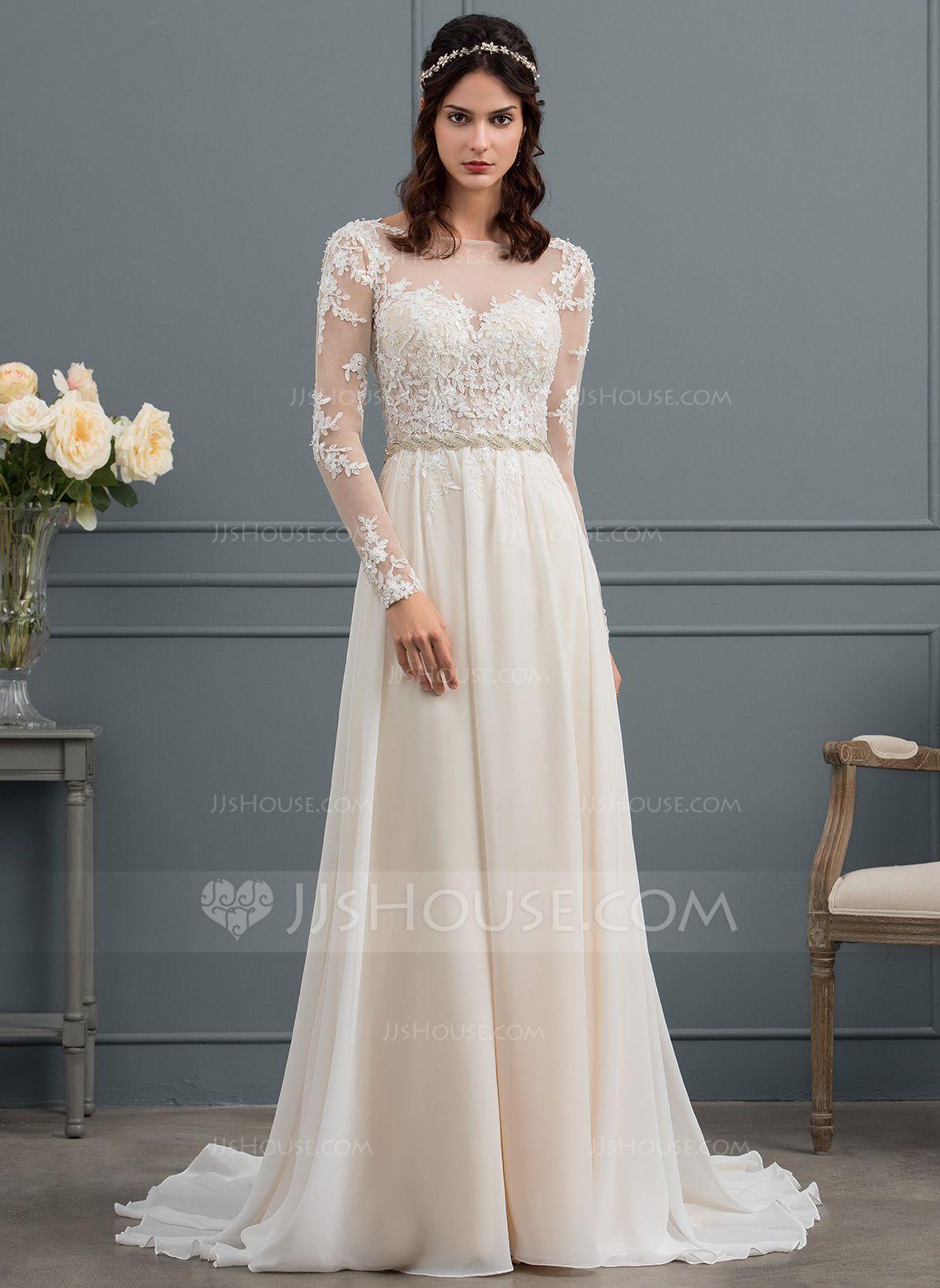 A line chiffon wedding dress  ALinePrincess Scoop Neck Court Train Chiffon Wedding Dress With