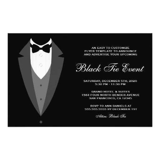 Black Tie Event Flyer Template  Christmas And Holiday Party