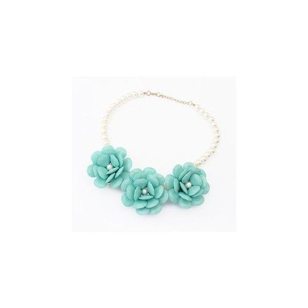 Flower Faux-Pearl Necklace (£5.36) ❤ liked on Polyvore featuring jewelry, necklaces, accessories, imitation pearl necklace, faux pearl jewelry, blue flower necklace, flower necklace and blue necklace