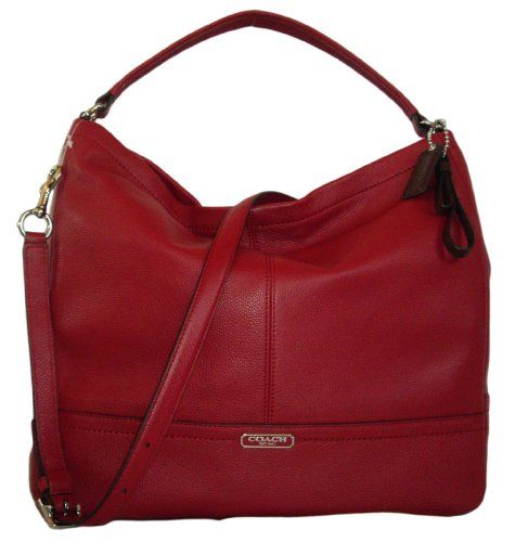 Coach 23293 Park Black Cherry Red Pebbled Leather Hobo Shoulder ...