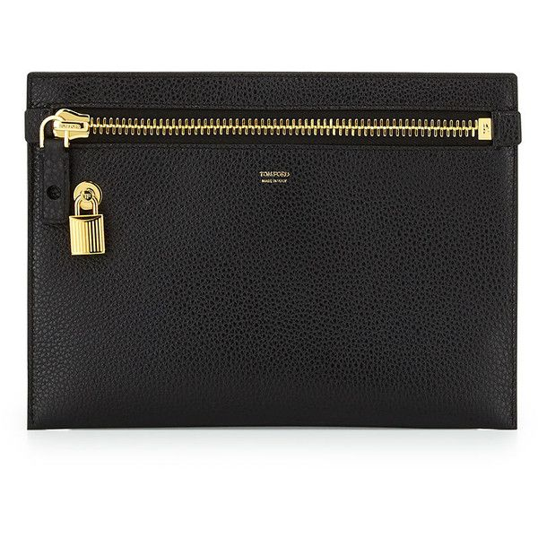TOM FORD Large Calfskin Zip Clutch Bag (€615) ❤ liked on Polyvore featuring bags, handbags, clutches, black, black clutches, zip purse, zipper purse and tom ford handbags