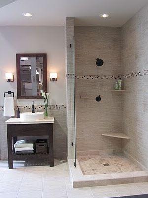 the tile shop: classico beige and pisco border | bathrooms
