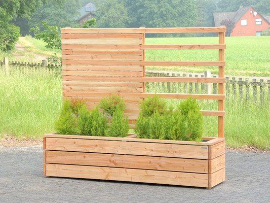 Pflanzkasten Holz lang mit Sichtschutz / Rankgitter, Douglasie ...