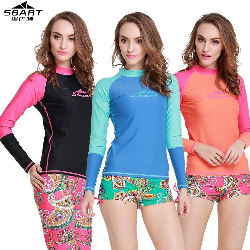 04bae43c5 Long sleeves swimwear surf clothing SBART diving suits shirt swim suit  spearfishing kitesurf rashguard women rash