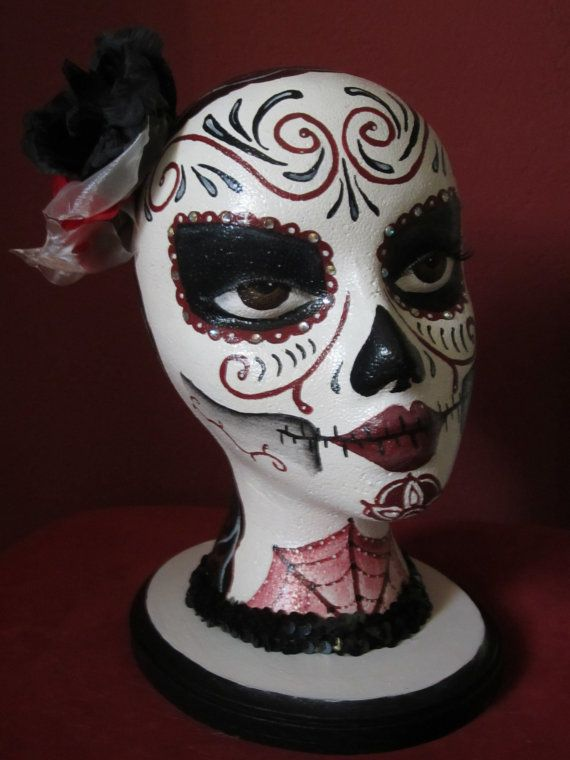 Day of the Dead Hand Painted Mannequin Head in by ArtArtFoFart, $30.00