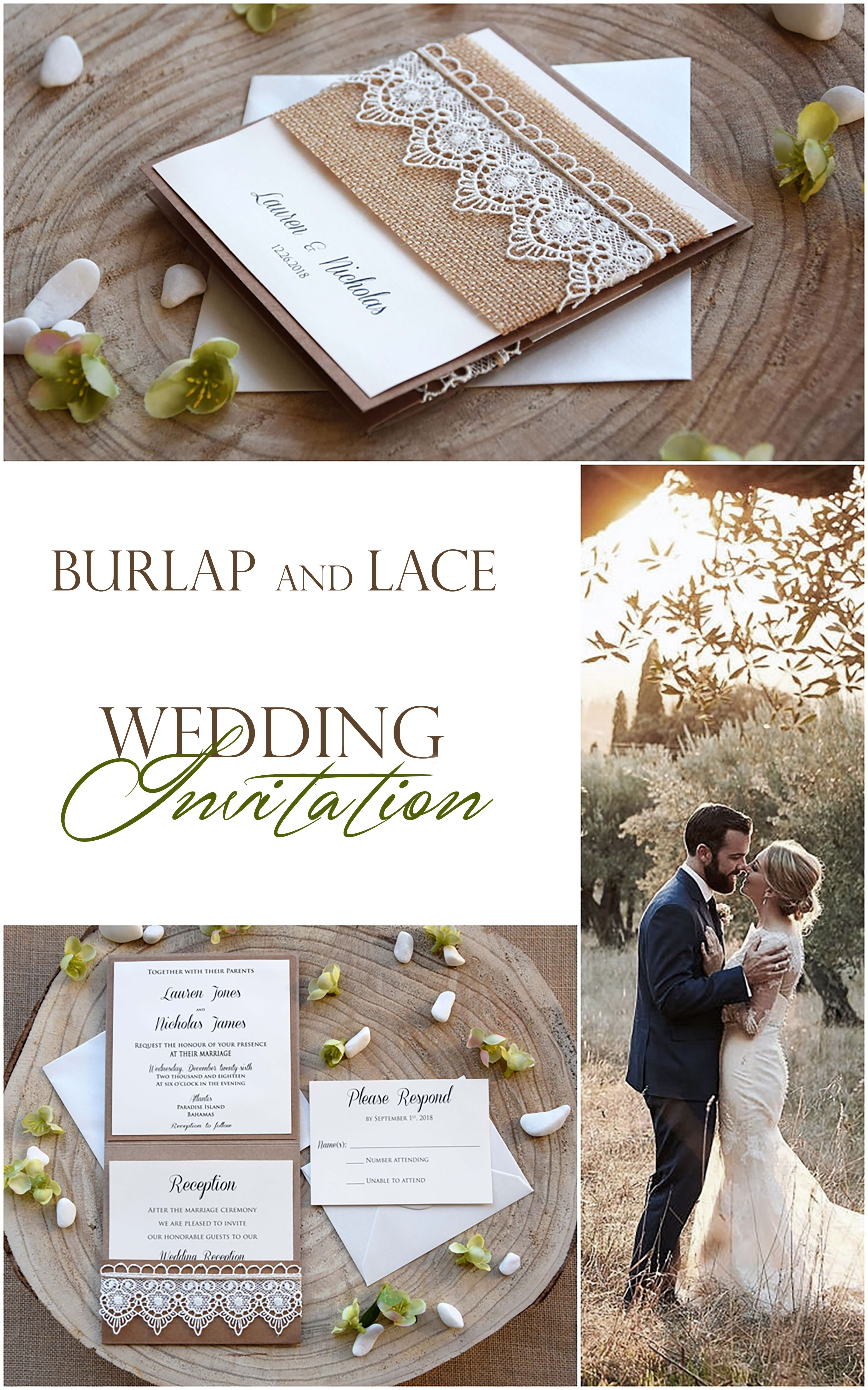 Burlap And Lace Wedding Invitations Eco Friendly Wedding Etsy