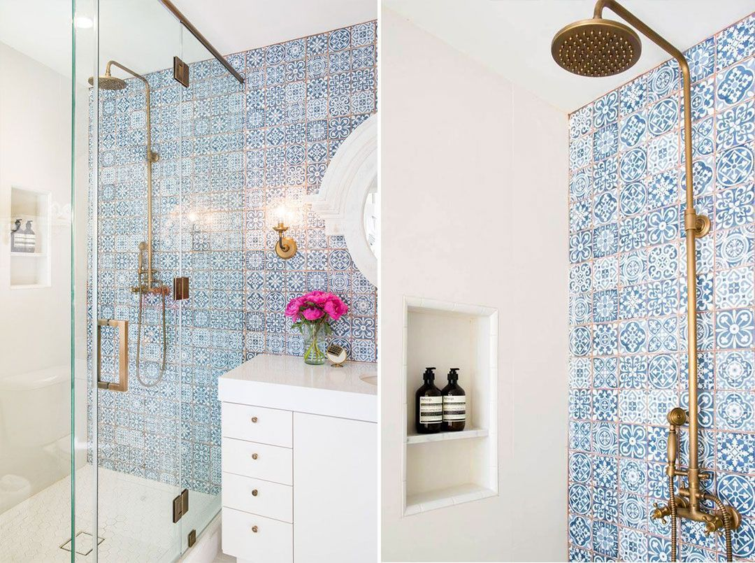 Idee di bagno in blu e bianco nesting bagno