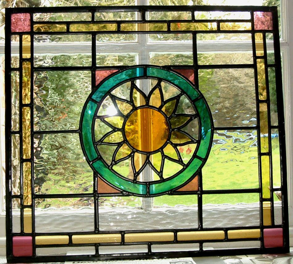 This internal kitchen door panel was commissioned for a for Stained glass kitchen windows