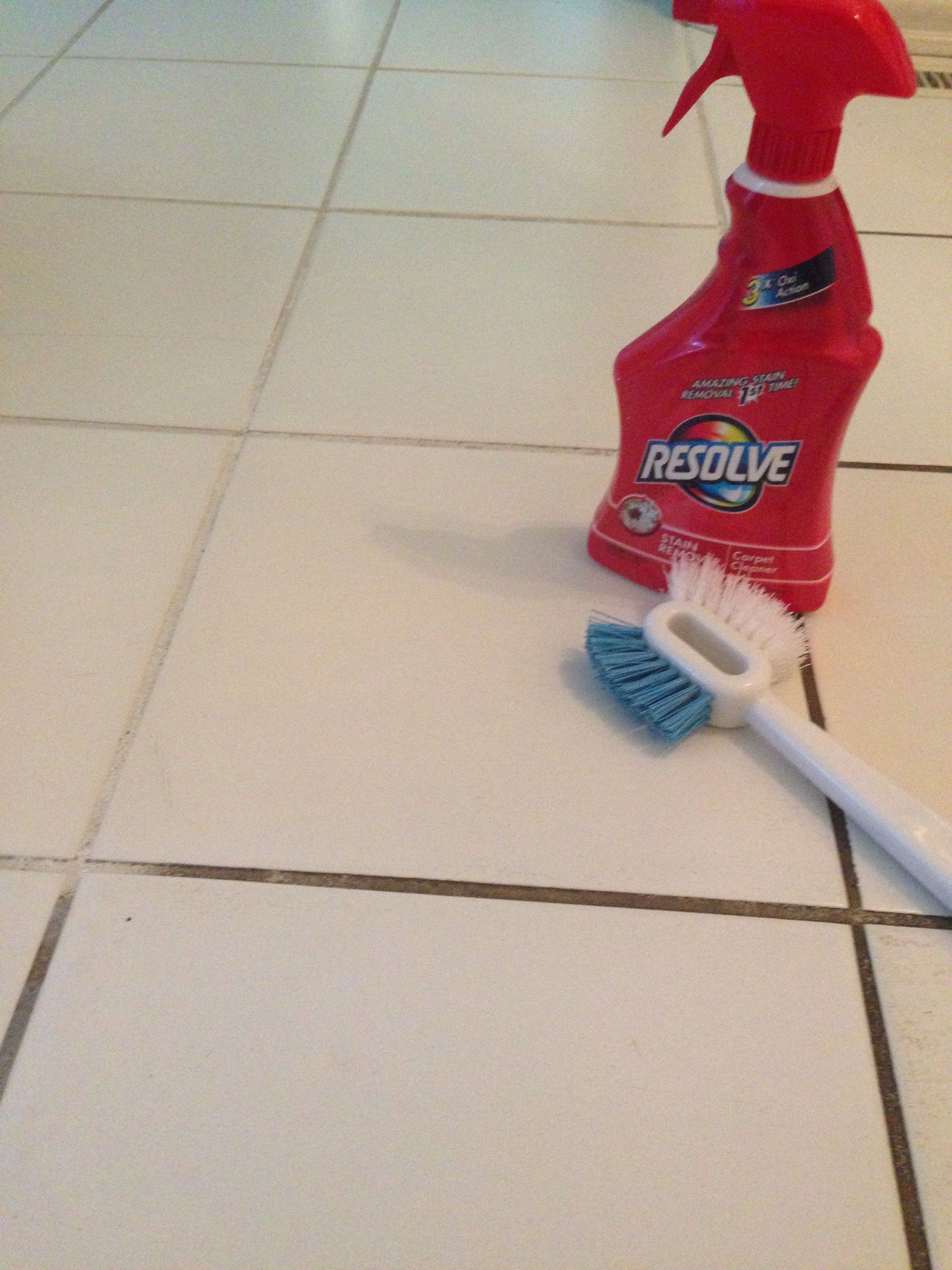 Resolve carpet cleaner to clean grout Hydrogen peroxide Grout