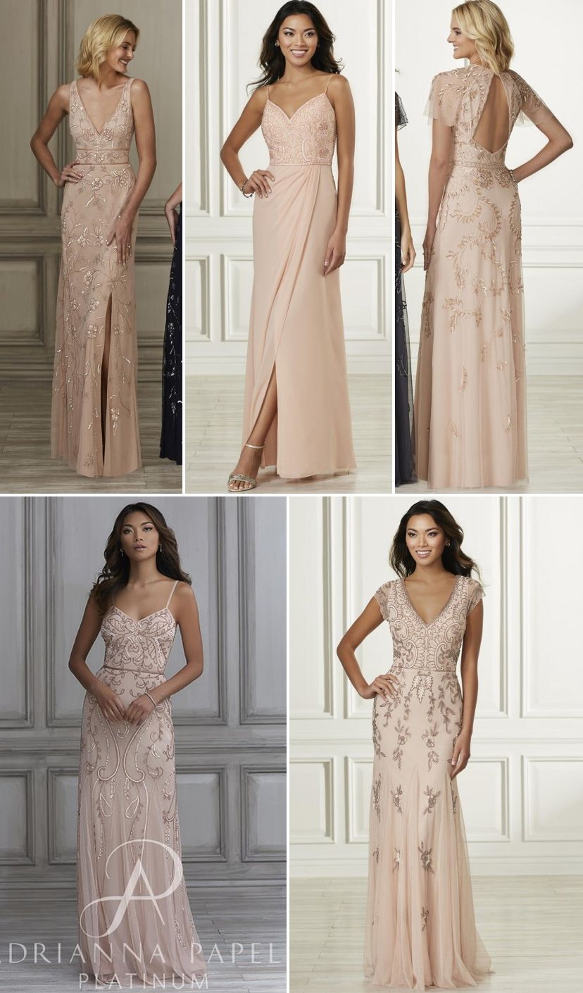 97b3eee0660a Adrianna Papell Platinum Collection - beaded blush bridesmaid dresses -  40138, 40167, 40168, 40121, and 40160