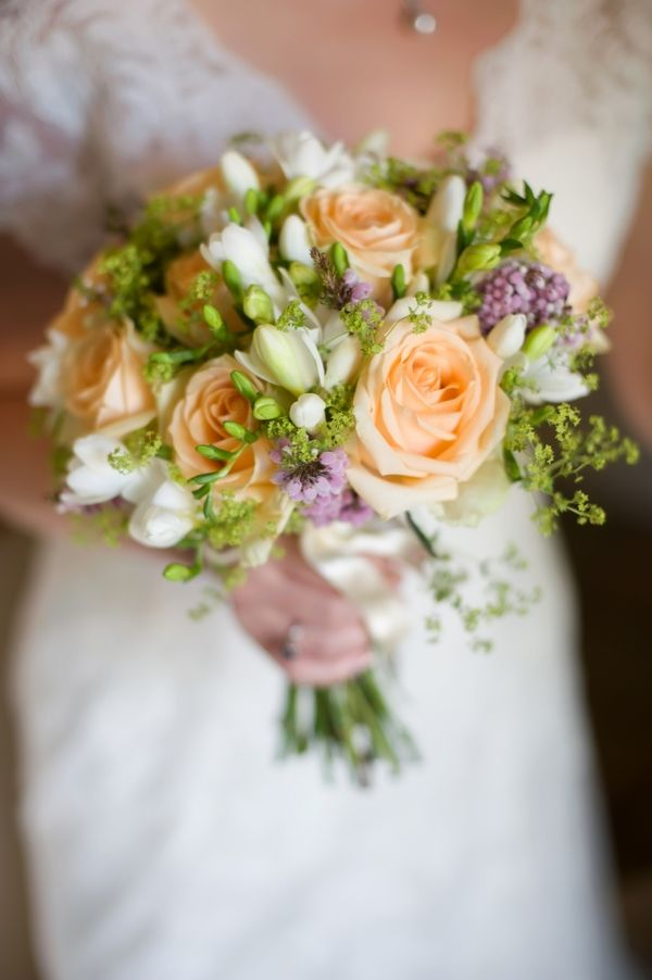 Bridal Bouquet with Peach Roses and White Freesia