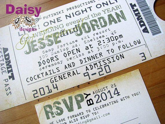 Concert Ticket Invitation \/ Wedding Ticket Invite by ShastasShop - concert ticket invitations