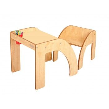Little Helper Funstation Solo Toddler Table Desk And Chair Set With Pen Brush Pot Natural 24m