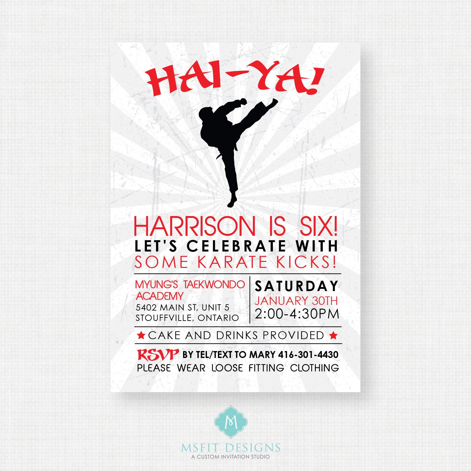 Karate Birthday Party Invitations - All The Best Invitation In 2018