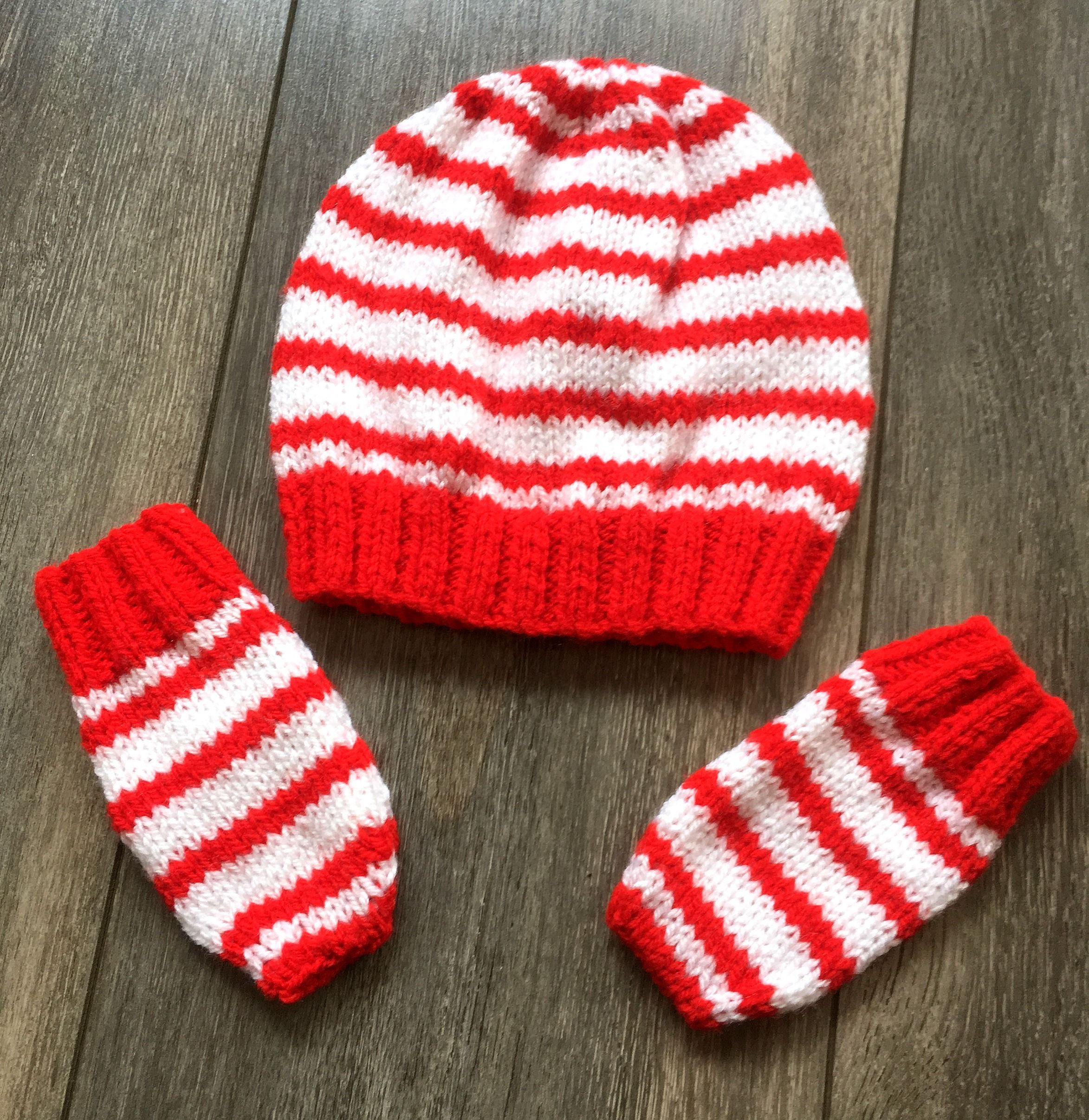 Boys Stripy Cable Knit Bobble Hat and Touch Screen Gloves Set