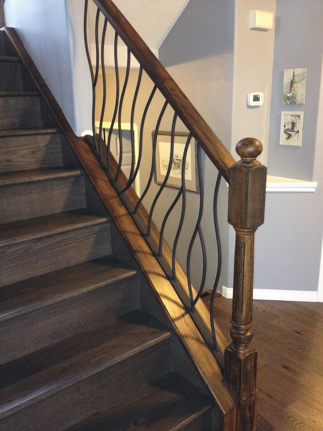 decorative wrought iron indoor stair railings buy.htm bent railing with distressed wood finish interior railings  railing with distressed wood finish