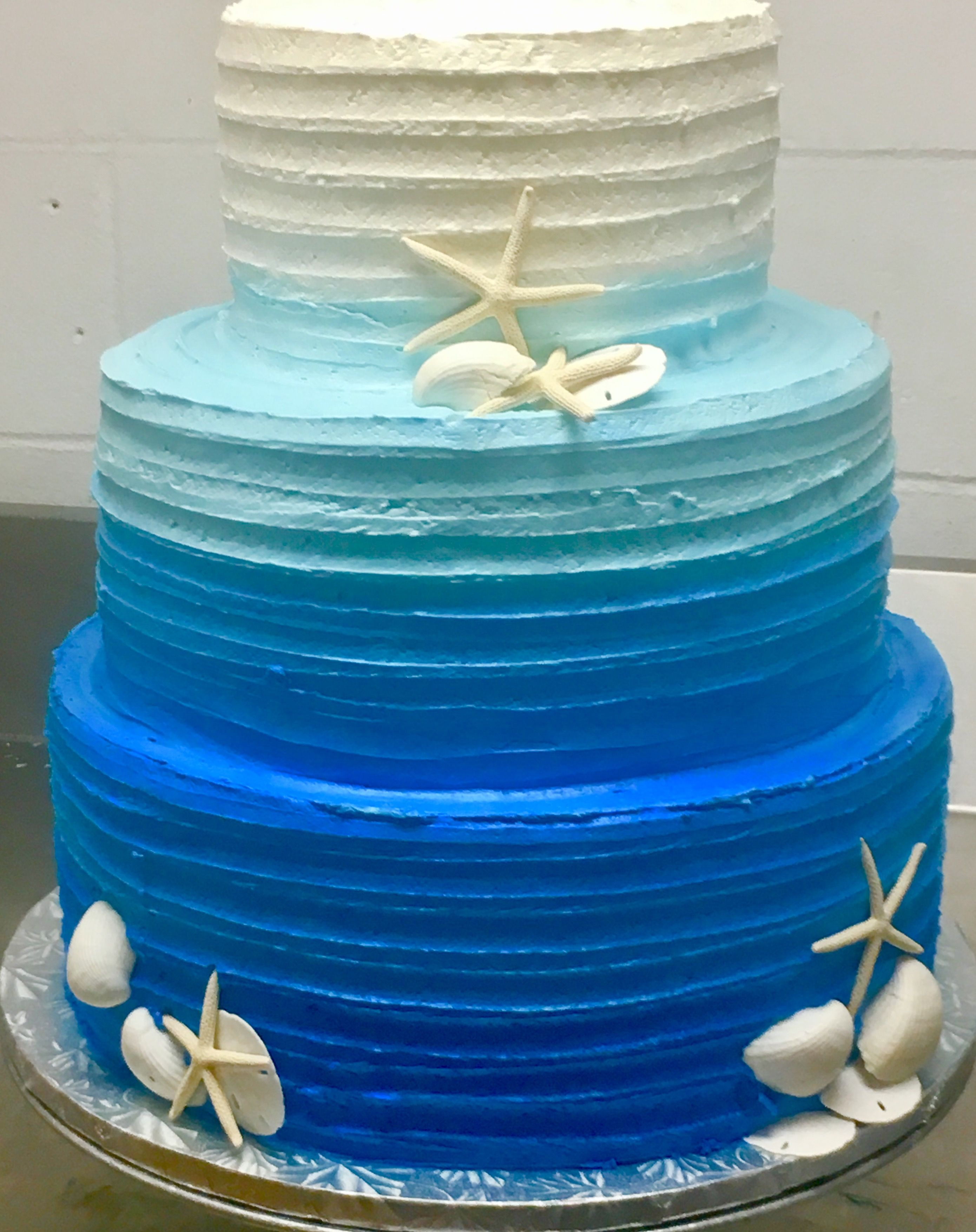 Beach Wedding 85 Rustic Lined Ombre Buttercream Cake With