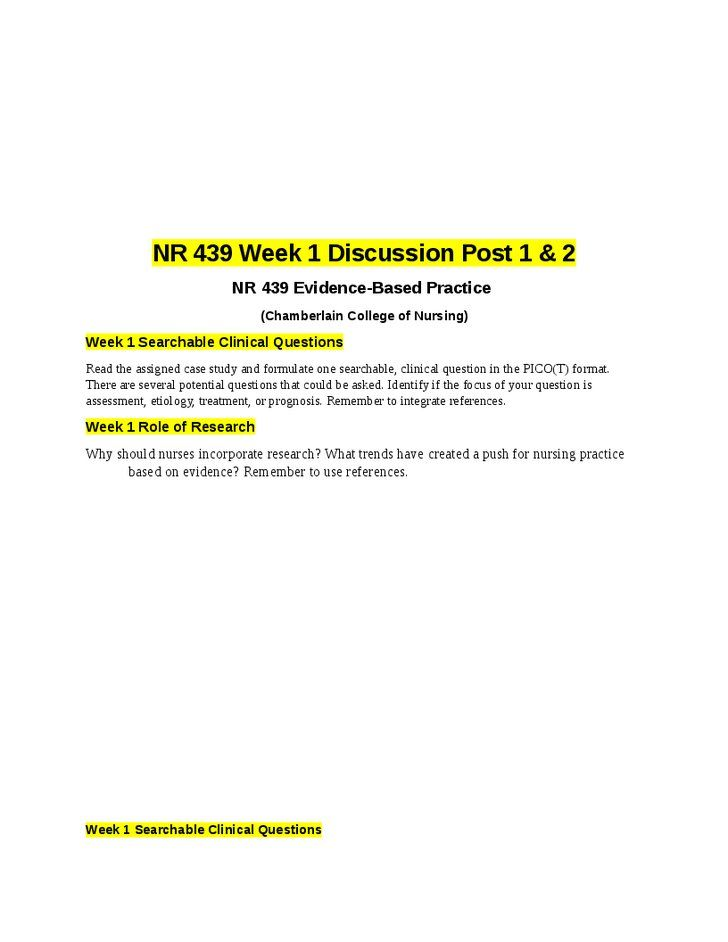 Week  Searchable Clinical Questionsread The Assigned Case Study