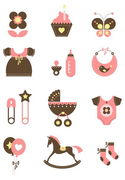 Baby icons by Irina Kerasoshvili, via Behance | Baby shower ...