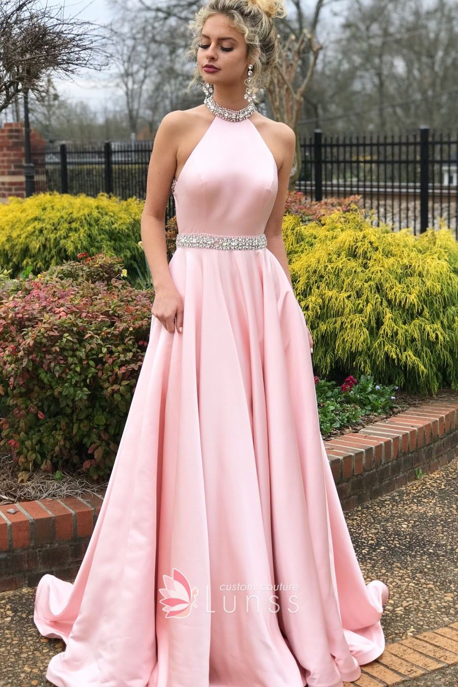 Light Pink Satin Beaded Halter Floor Length Puffy Prom Dress