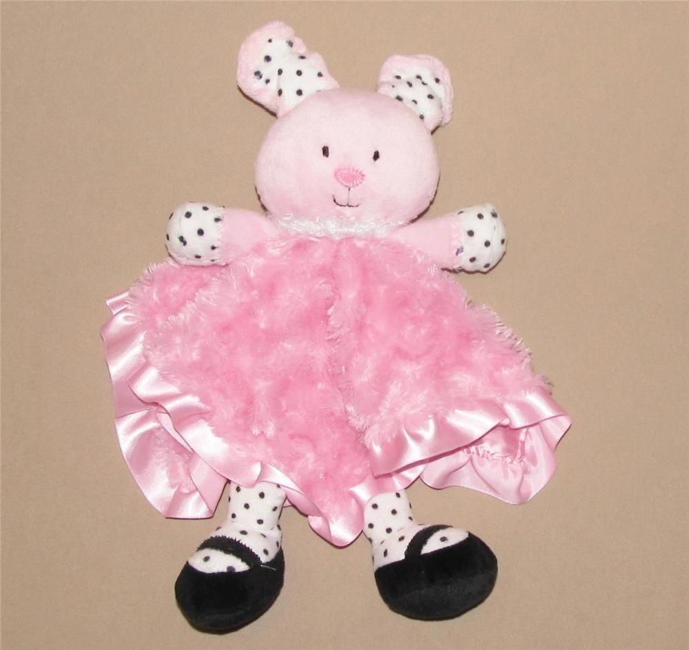 Baby Starters Pink Black Polka Dot Bunny Rabbit Security
