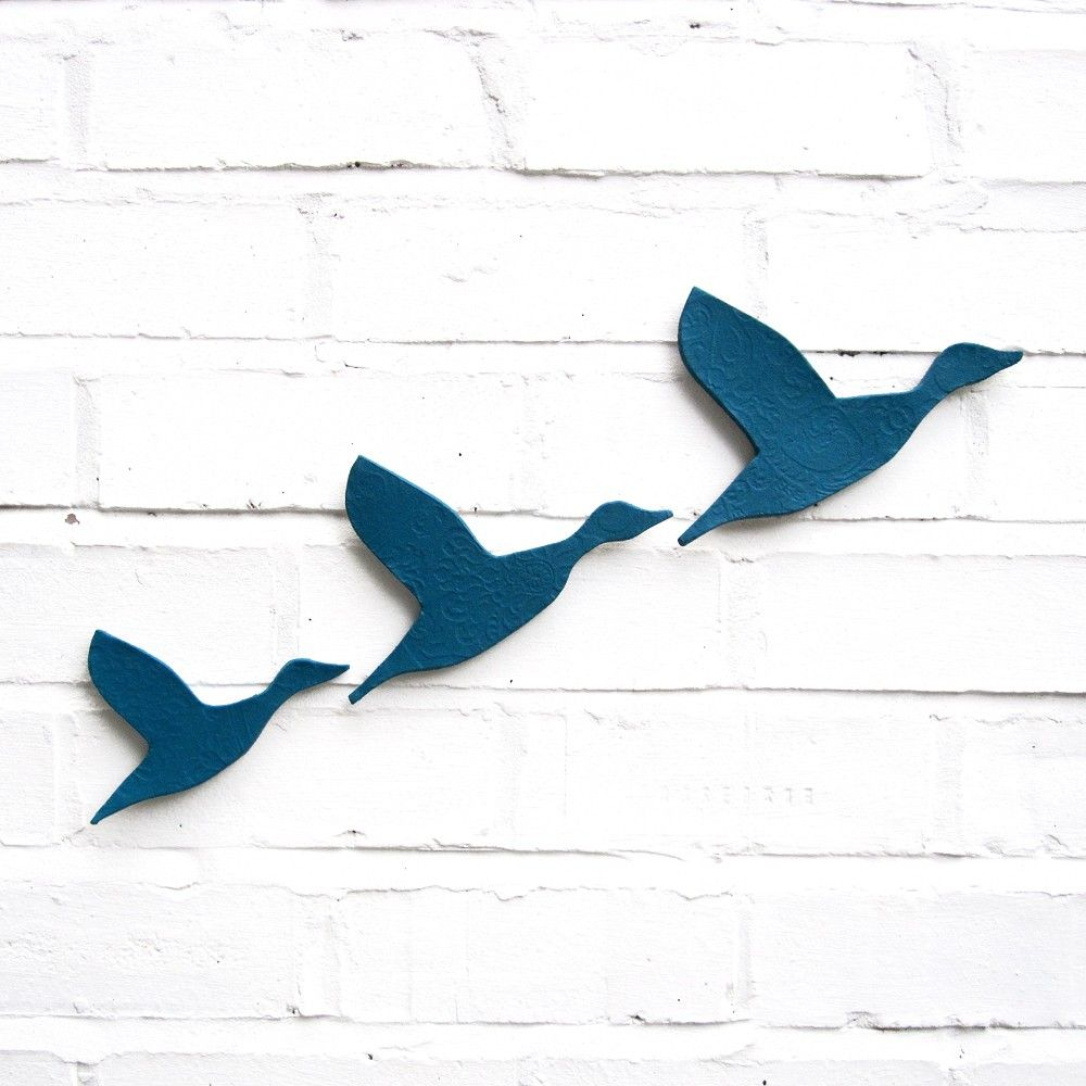 Ceramic Wall Art Flying Ducks In Teal Blue Set Of 3 Stoneware Pottery Birds Home Decor Wall Ornaments Modern Classic Retro Silhouette Ceramic Wall Art Ceramic Wall Art Sculpture Wall Sculpture Art