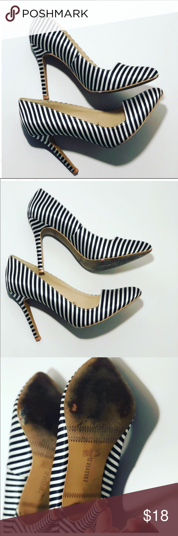764b510b8f7 Forever 21 black white stripe pumps size 8  Women s forever 21 heels Super  cute Black