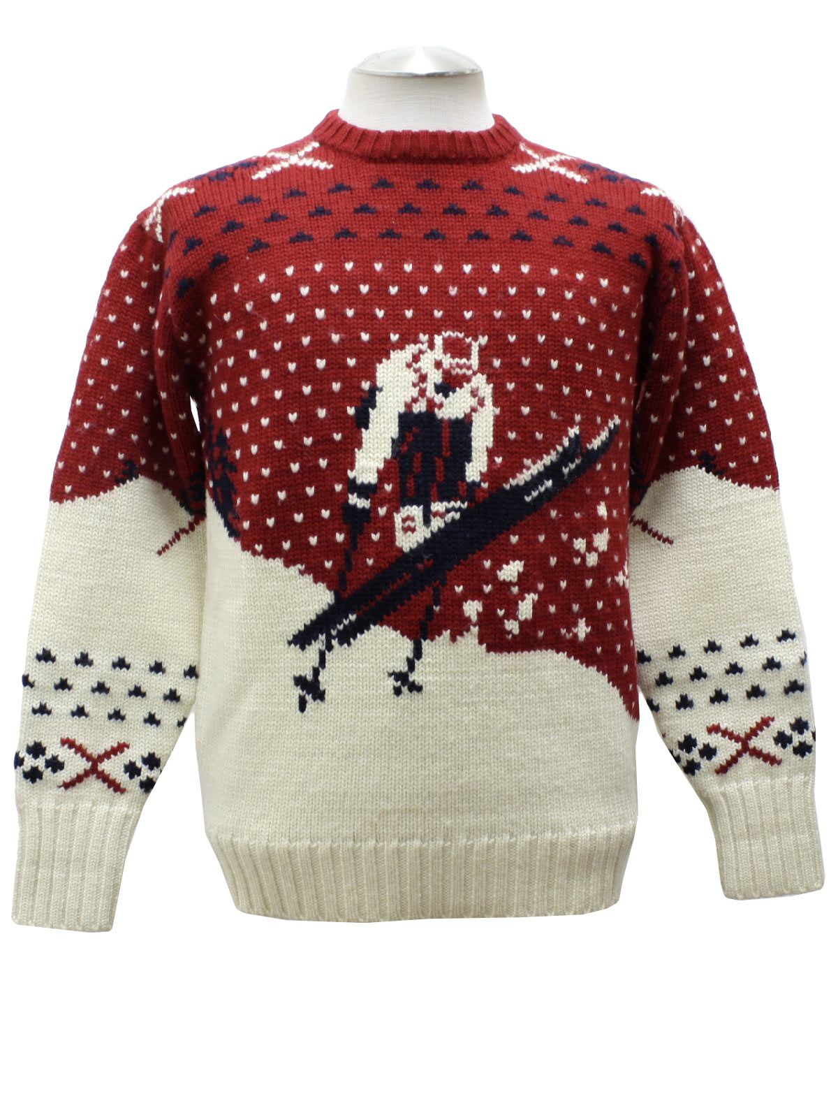 d2fd0a0e1 80s vintage -Polo by Ralph Lauren- Mens red white and black pullover style  wool ski sweater with old school intarsia knit ski jumper