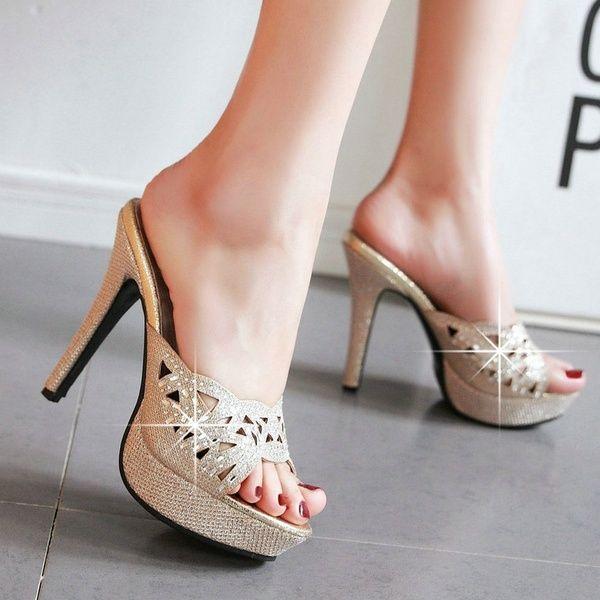 983e96019e9 Shoes Woman Gold Silver Rhinestone High Heel Slippers Gladiator ...